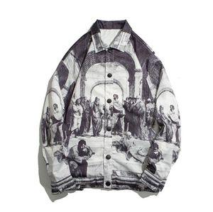 Retro Vintage Jacken Herren Malerei 2020 Streetwear Jacket Hip Hop Track Jacke Mantel Outwear