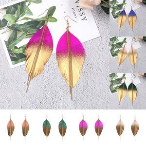 Pendientes de plumas de Goldblue para mujer Cadena larga Pendientes Pendientes Big Tribe Bohemia Pendientes de gota Oorbellen Perchas JU0IW 9DWV 848 R2