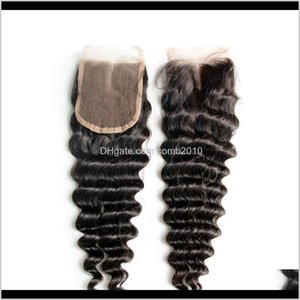 Middle Part Part 3 Part Lace Deep Curly Wave 4 X 4 Top Closure Grade 6A Hair Ovojv 8Na4Z