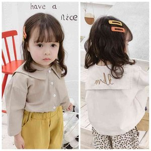 Baby girls cotton letters embroidery fashion sailor collar shirts Korean style long sleeve casual blouses 1-5Y 210708