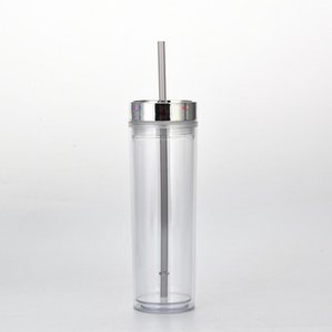 Coupe maigre double mur en plastique portable facile à prendre avec couvercle de galvanoplastie et paille de la mer de 16oz5689