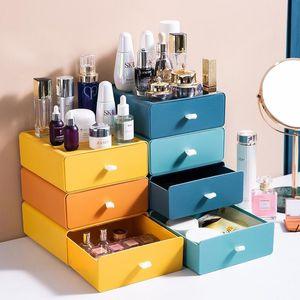 NewStorage-Schubladen Typ Kontrastfarbfeld Office Desktop Can Stapeldatei Multifunktionsschrank Blaue Schubladenkästen Größe 20 * 21 * 8cm Ewa5519