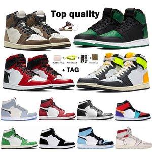 Jumpman og 1s Travis Scotts Chaussures de basketball Obsidian Lakers Unc Mid Royal Toe Noir Métallique Grey Green Green Pine Green Twist Twist Sans Créélie