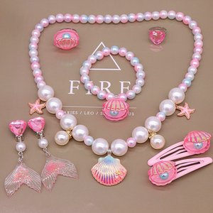 Pendant Necklaces Children's Necklace Bracelet Ring Earring Set ocean shell fishtail cartoon little girl jewelry accessories