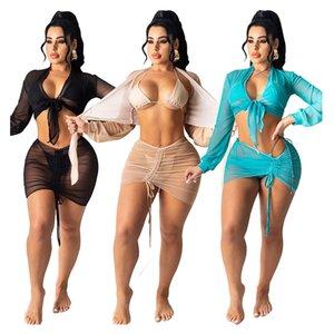 Женщины Купальники Сексуальный Сплошной цвет песчаный пляж Бикини кружева дышащая быстрая сухая сетка солнцезащитный крем костюм четырех частей Swimsui LJC