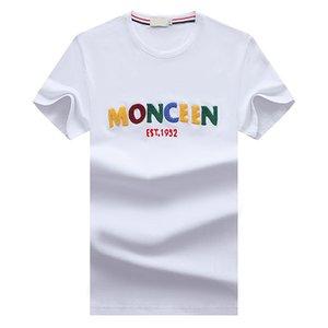 21ss monclair 4 اللون تي شيرت أوروبا والأمريكا نمط الرجال المطبوعة قميص ماركة مصمم جودة عالية عارضة شارع تي