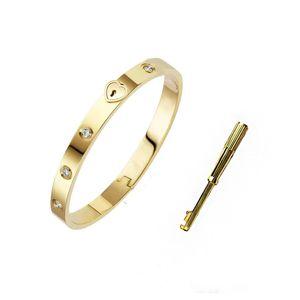 Luxury designer jewelry mens bracelets stainless steel 18k gold woman bangle chains fashion love bracelet heart lock for women