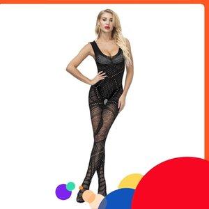 Black Fetish Open Cross Bodystocking Erotic Elasticity Mesh Babydoll Sexy Costumes Lingerie Bodysuit Underwear