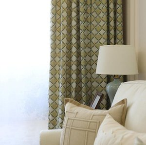 Curtain & Drapes Modern Simple American Jacquard Garden Chenille Pure Color Plaid Yellow-green Medium Shading Curtains For Bedroom Living Ro