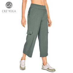 Running Pants CRZ YOGA Women's Lightweight Loose Wide Leg Capri Joggers With Cargo Pockets Elastic Waist Athletic Lounge Travel