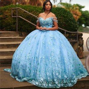 Light Sky Blue Quinceanera Dresses Off Shoulder 3D Flower Junior Girls Birthday Prom Gowns Bead Ball Gown Sweet 15 Dress