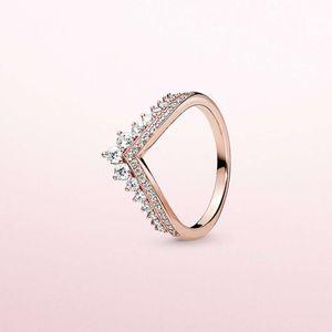 Pandora에 대 한 고품질 패션 CZ 다이아몬드 반지 925 스털링 실버 로즈 골드 도금 여성 결혼 반지 원래 상자 세트
