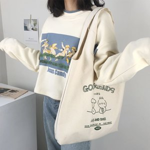 HBP fashion lady shopping bag large capacity all-match canvas shoulder bag trend student school bags-1