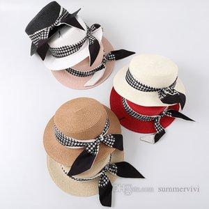 Children plaid ribbon Bows straw caps girls round tops grass woven wide sun hat kids beach holiday outdoor travel visor cap Q1140
