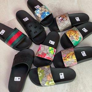 Tasarımcı Kauçuk Slayt Sandalet Çiçek Brocade Erkekler Terlik Dişli Dipleri Çevirme Kadın Çizgili Plaj Nedensel Terlik Kutusu US5-11
