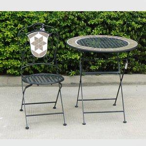 Hohe Qualität Metall Mosaik Holz Seite Mosaik Gartentisch und Klappstuhl Set Outdoor Essmittel Möbel