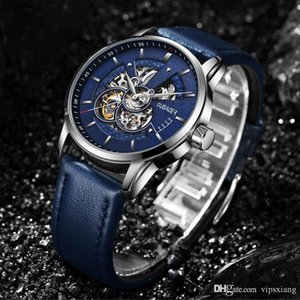 Hombres Reloj Mecánico Automático Mecánica Dial de Alta Calidad Relojes Hollow Swiss Suiza El Hombre Correa de Cuero Impermeable Wristwatch