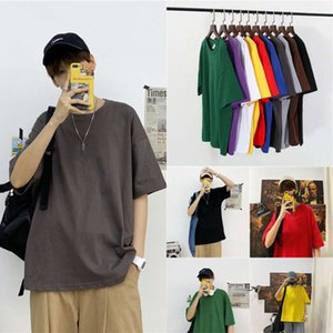 polo shirts Summer ins solid color short t-shirt men's loose simple student class Korean half sleeve BF top clothes