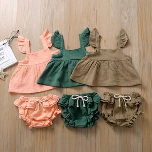 Kinder Kleidung Sets Mädchen Jungen Solide Farbe Outfits Infant Kleinkind fliegende Ärmel Tops + Rüschen PP Shorts 2 teile / set Sommer Mode Boutique Baby Kleidung