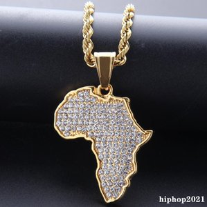 Hip Hop African Maps Full Drill Pendant Necklaces 14kK Gold Plated Set Auger Crystal Stainless Steel Necklace Mens Women Jewelry Gifts