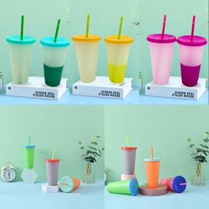 24oz Color Changing Cups with Straw Set Cold Drink Cup Discoloration Drinking Tumblers Lid Summer Iced Coffee Drinkware 1560 T2