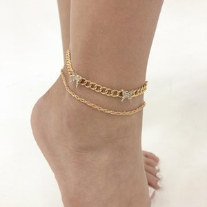 Anklets Vintage Anklet Golden Color Fashion Crystal Butterfly Charms Bracelets For Women Double Layer Beach Leg Jewelry Bohemian