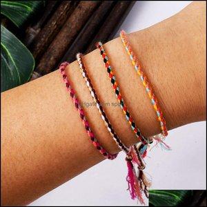 Charm Jewelrypolyester Thread String Bracelet Pray Yoga Handmade Pure Color Chic Tassel Bracelets For Men Women Adjustable With Friendship C