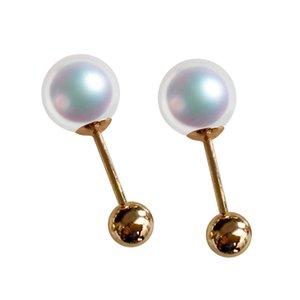 Sinya Natural Round Pearls 18k Золотые бусины Шт. Серьез Серьги Винт мяч Плотный дизайн DIY Носить Изделить украшения Новый 210325