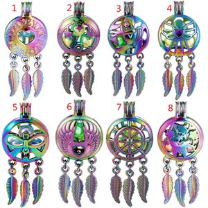 New Rainbow Color Alloy Mix Dream Catcher Beaty Feather Beads Cage Locket Pendant Diffuser Perfume Essential Oils Diffuser Boutique Gift