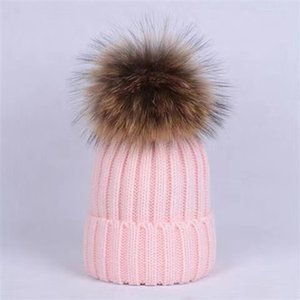 Wholesale beanie New Winter caps Hats Women bonnet Thicken Beanies with Real Raccoon Fur Pompoms Warm Girl Caps pompon beanie