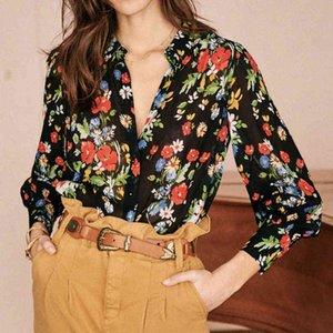 blusas tianna floral estampado camisa mujeres verano otoño manga larga botón arriba casual chic túnica tops elegante vintage blusa lmdy