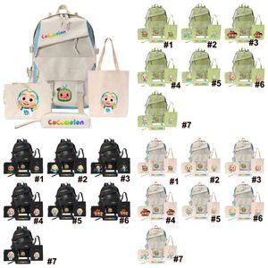 4PCS Set Cocomelon JJ Cartoon Backpack Shoulder Bag +Handbag Tote + Purse Coin Bags+ Pencil Case Kids Child Schoolbag Book Pack Totes G31906