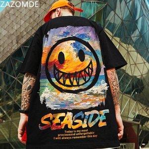 Zazomde 2021 Nouvelle marque populaire manches courtes Hommes Cartoons T-shirt hip hop T-shirt de style chinois Imprimer Tshirt surdimensionné 210317