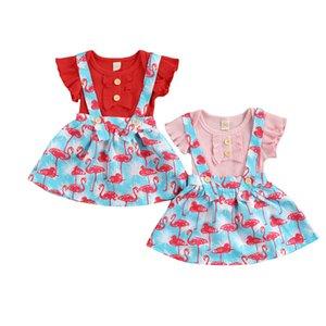 여름 아기 소녀 옷 2pcs 단색 짧은 소매 Romper + 플라밍고 인쇄 멜빵 드레스