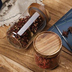 Refeições de madeira tampa de vidro vasilha de cozinha de cozinha armazenamento de cozinha bottl frascos de comida recipiente de comida grãos de café grãos doces frascos recipientes