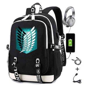 Ataque de impressão de mochila de anime em Titan Scouting Legion Alunos Saco de escola Homens Causal Travel Laptop Mochila com Carregamento USB 210322