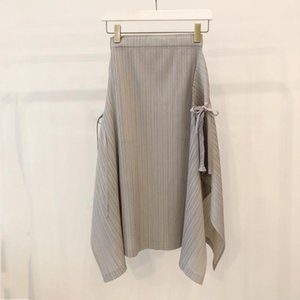 Skirts 2021 Women Fashion Sexy Solid Color Bow Pleated Irregular Skirt 0414