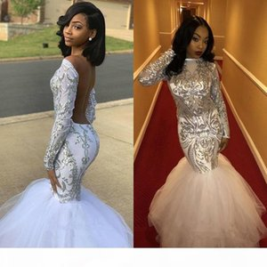 2020 Fashion Mermaid Long Prom Dresses Tulle Long Sleeves Sequins Backless Formal Evening Gowns Plus Size