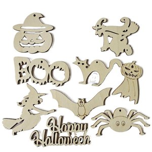 2021 Creative Wooden Halloween Decoration Crafts Holiday Party Decor Pendant Home DIY Graffiti Wood Chip Props