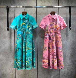 2021 розовый / зеленый цветочный принт женской одежды милан взлетно-посадочная полоса ошеломляет шею короткие рукава империя летнее платье 052603