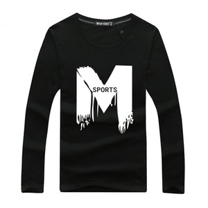 T-shirt winter printed long sleeve and Pullover tide brand large round neck bottom shirt outdoor men's Autumn clothes