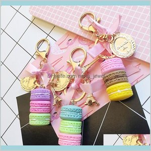 Fashion Korean Macaron Cake Keychain Holder Charm Handbag Car Pendant Accessories Cute Gift For Girls Key Chain 8Maqx Nhkdi