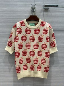 2021 Autumn Milan Runway Sweaters O Neck Short Sleeve Print Apple Women's Sweater High End Jacquard Pullover Designer Clothing 0725-3