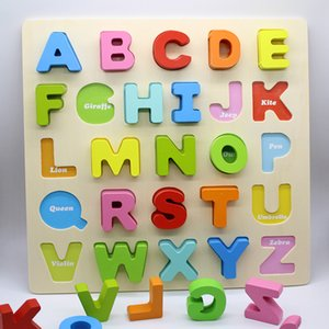 Wooden numbers and letters hand grasping board puzzle Three-dimensional children's puzzle puzzle early education baby toys