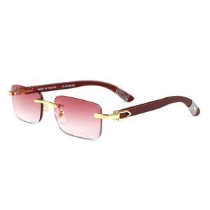 mens sunglasses wood natural fashion sports rimless glasses metal frame buffalo horn sun glasses black pink lenses gold silver oculos