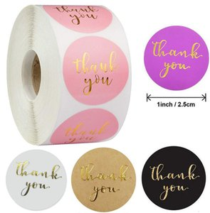500pcs 25mm Gold Foil Thank You Adhesive Stickers Scrapbooking for Envelope Seal Labels tags Pink White Black Purple Kraft Stationery Sticker