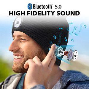 BELUTOOTH BEANE BEANE HAT للجنسين قبعة صغيرة محبوك قبعة 5.0 سماعة سماعة رأس سماعة ستيريو الذكية مع ضوء LED مع حقيبة OPP