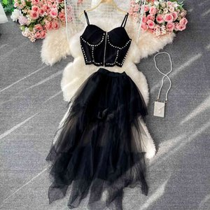 Two Piece Dress Women with strapless zipper, short diamonds, irregular tops, long female skirts, two-piece sexy summer suit party, black mesh, 2FBS