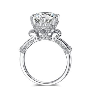 Fashion Crown wedding ring for women Round cut 3ct Simulated diamond Cz 925 Sterling Silver Female Engagement Band ring 55 R2