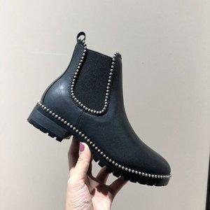 Роскошный дизайнер женские наполовину сапоги обувь зимний коренастый Med каблуки простые квадратные пальмы ног обуви дождевые ZIP женщин середины теленка добыча носить устойчивый к толщему бешеному ботинку A119
